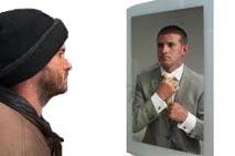 man spiegel vrij